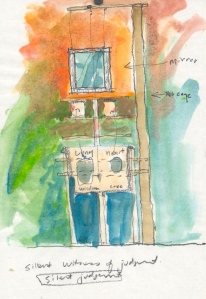 Watercolor & pencil sketch for full scale SINK sculpture